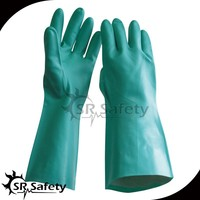 "SRSAFETY Nitrile Glove, Chemical Resistant, 15 mil Thickness, 13"" Length,"