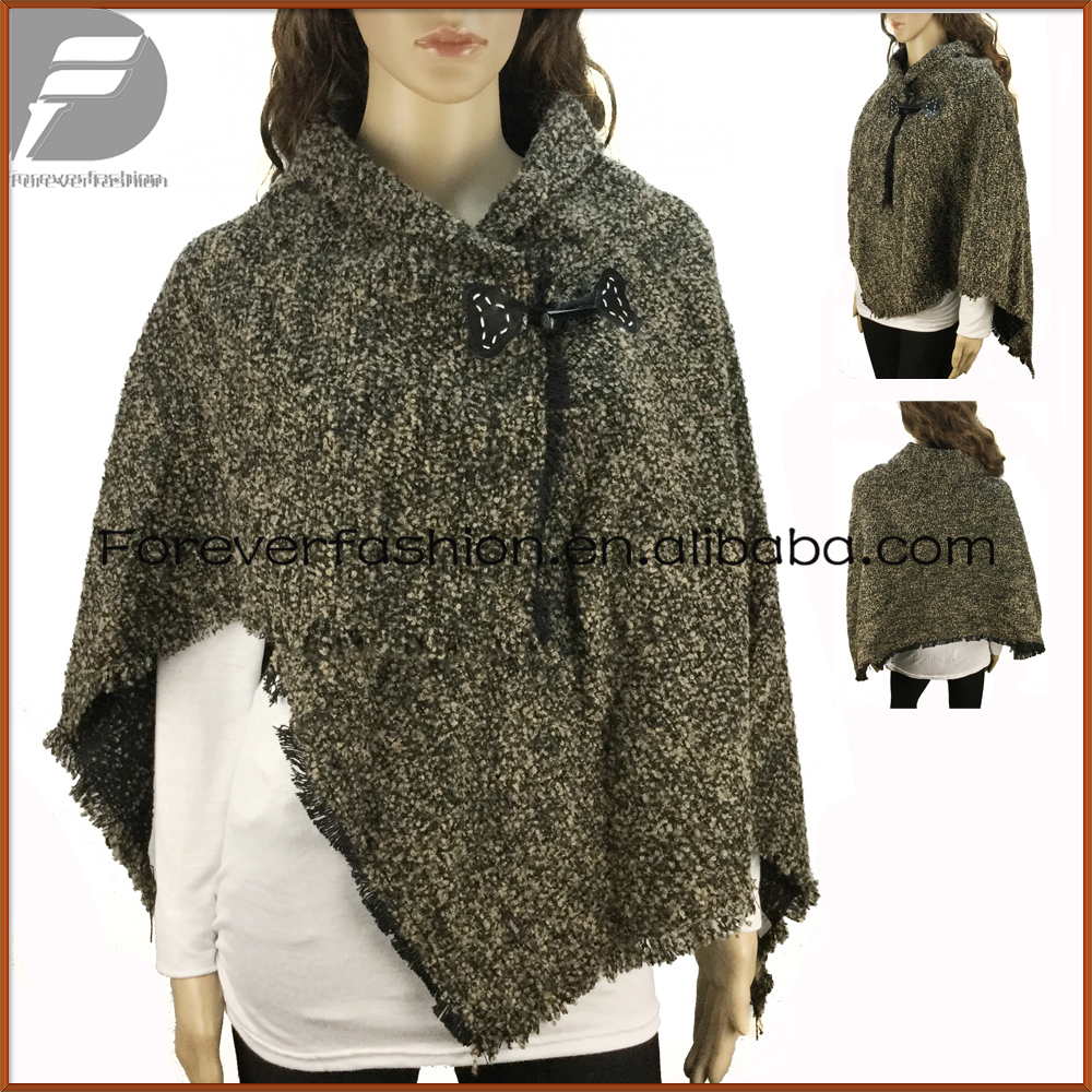 Women Blend Knitted Crewneck Acrylic Cloak ponchos Pashmina shawl with Button