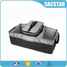 Heavy duty nylon folding trunk organizer with cooler bag