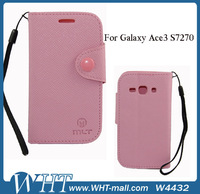 2013 High Quality PU Leather Case For Samsung Galaxy Ace 3. S7270/S7272/S7275 WHTS004