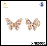 Wholesale Solid Silver 925 Stamped Butterfly Studs Silver 925 Micro Pave Earrings