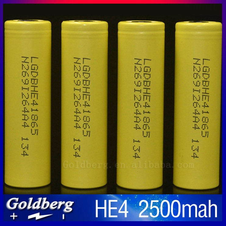 Top quality sub ohm 18650 battery LG HE4 yellow Updated LG HE2 battery 18650 2500mAH 35Amps battery LG HE4