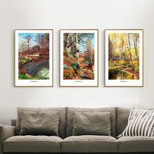 Handmade Autumn Village Scenery Abstract High Quality Landscape oil Painting
