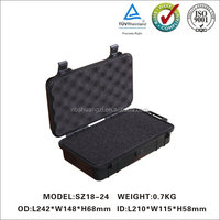 Small waterproof plastic case with rubber cushion