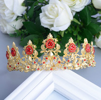 Crystal Golden Flower Wedding pageant flower bridal tiara