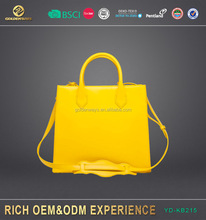 personalized high quality yellow leather handbag from oem factory