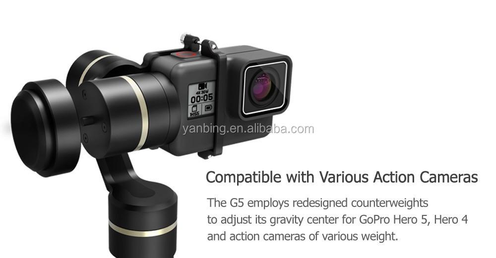 New arrival Feiyu FY G5 3-axis handheld gimbal stabilizer for Go pro HERO5 4 and action camera