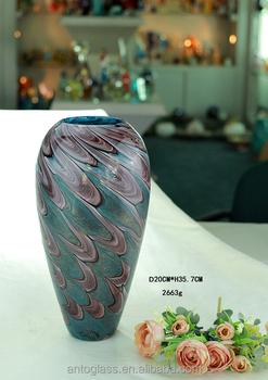 Peacork Style Glass Vase Colored For Decoration Use