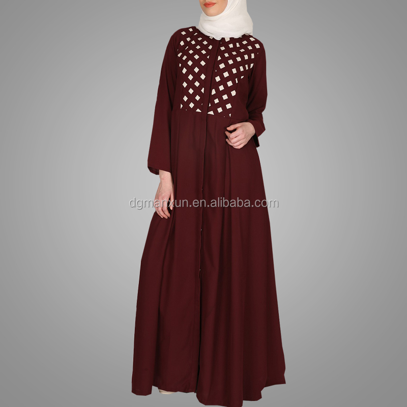 China Supplier Latest  Daily Wear Hot Popular  Net Style Muslim Casual Abaya Classical Dubai Kaftan Dress Online