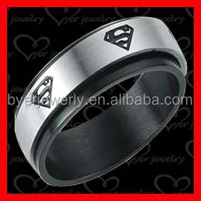 stainless steel tow tone color silver black superman wedding ring