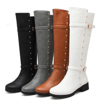 New Style Women 's Low Heel Shoes Over Knee Leather Dress Boots