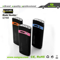 2600mAh Sungzu factory portable Power Bank with LED lamps