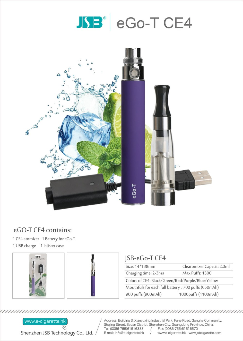Cheap eGo CE4 CE5 Starter Kit 650mAh Electronic Refillable E-cigarette CE4 clearomizer from China manufacturer