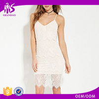 Summer New Design Elegant White Color Sleeveless Short Lace Evening Frock Dress For Lady