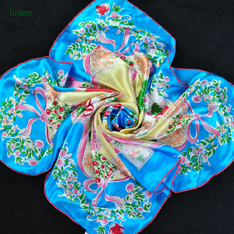 Large Square Satin Scarf 100% Silk Square Scarf For Woman Fancy Printed Crepe Satin Silk Head Scarf Hijab Dubai Wholesale