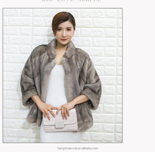 Gorgeous 100% genuine mink fur coat for women with stand collar, 60cm length, color grey