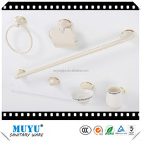 gold + white colour zinc toilet hardware toilet bath accessories , hotel shower bathroom accessories set,