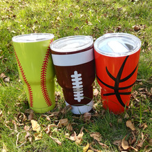 30oz Baseball Tumbler Softball Stainless Tumbler Powder Coating Double Wall Vacuum Insulated Tumbler with Lid DOM106461