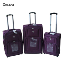 Newest 1680D Nylon Material Waterproof Purple Double Zipper Spinner Wheel Trolley Travel Bag