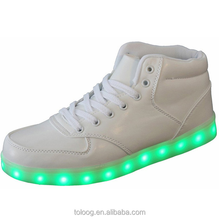 White Hightop Light Up <strong>Shoes</strong> Flashing Tennis Led <strong>Shoes</strong> For Men Women