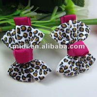 Discount polyester metal leopard bow hair clip western hair accessories