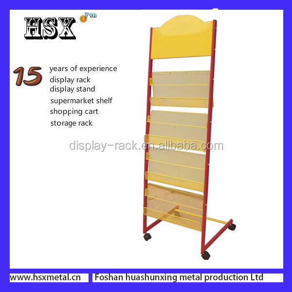 Removable wire grid Metal Magazine Racks D /Magazine Display racks for newsstand HSX-097