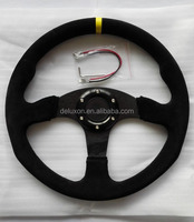 Mugen Style 14 inch Suede Leather Flat Dish Steering Wheel