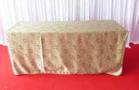 damask rectangular table cover with rose flowers and 1 side half drop