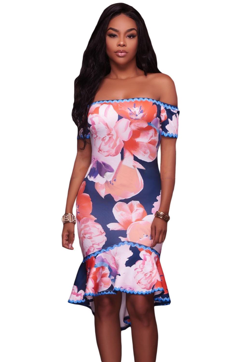 2018 rojo floral impresión sexy party Samba corto sirena vestido ...
