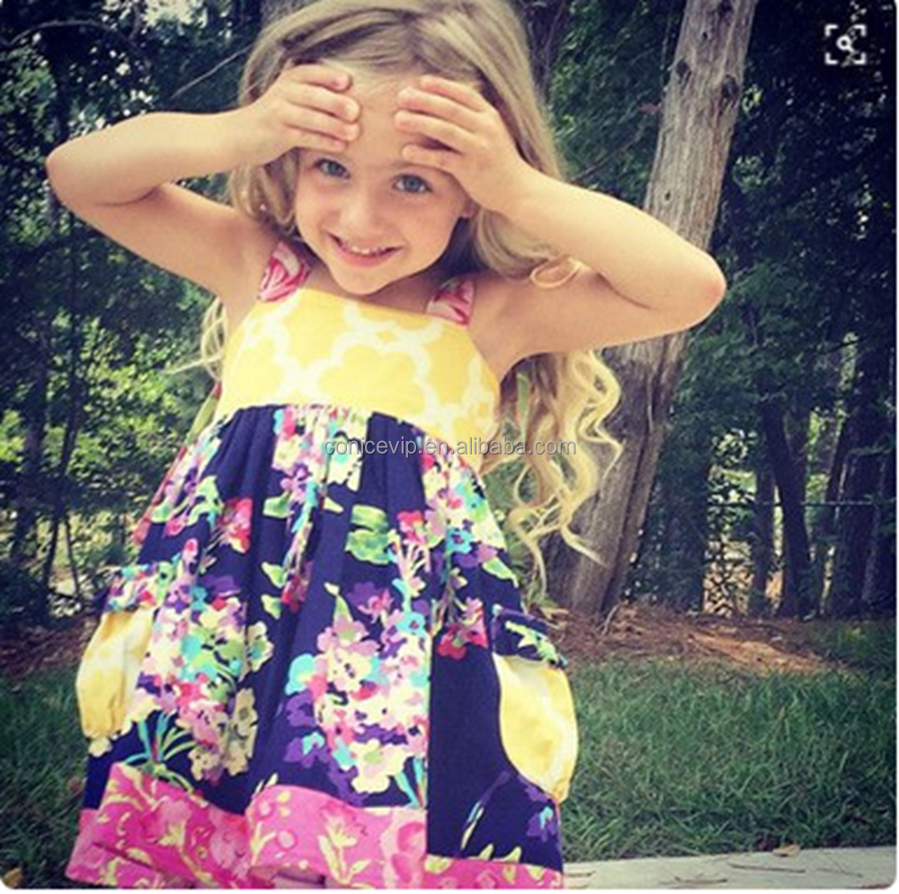 Wholesale Baby Girl Frock Dress Summer/Spring Girls Clothing Boutique Kids Cartoon Dress