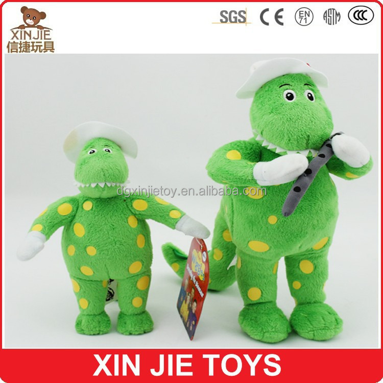 12inch standing plush green dinosaur toy with white hat and yellow dot