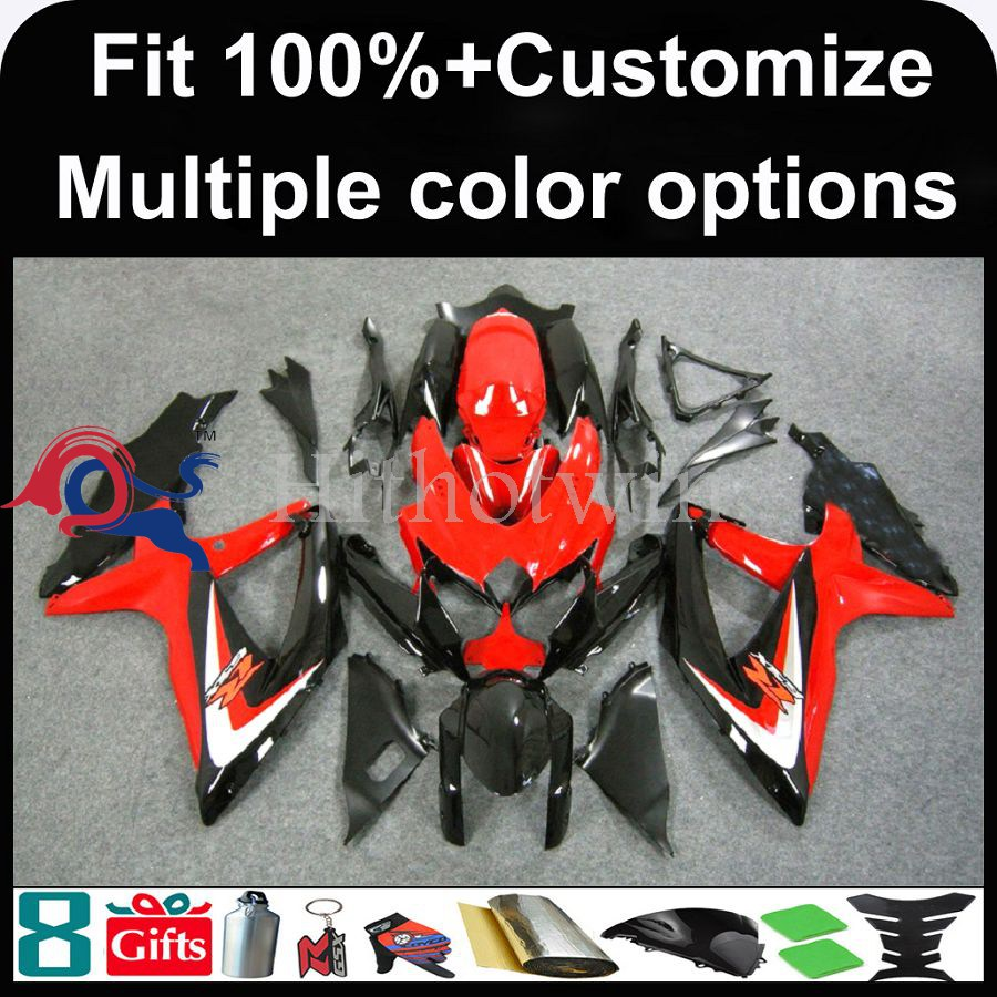 INJECTION MOLDING panels K8 ABS Fairing For Suzuki GSXR 600 red black GSXR 750 2008 2009 2010 Kit Set Fit GSX R600 GSX R750 2008