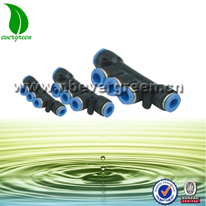 Nylon Plastic Pneaumatic Triple Equal Union Pipe Fittings