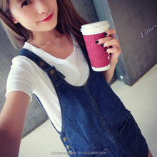MS70144L preppy casual style women lovely denim overalls dresses