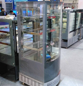 4 Side Glass Cooler Stainless Steel Refrigerated Showcase Four Side Glass Cabinet