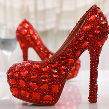 Wholesale Red Crystal Rhinestone Diamond 14cm High Heels Women Bridal Wedding Shoes Women Big Size 42 43 Party Prom Shoes