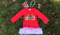 Western Girls Style New Year Baby Clothes Red Long Sleeve Cotton Dress With Fluffy Ruffles For Baby Christmas Dress