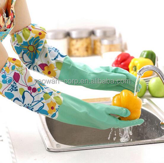 extra long household cleaning kitchen household latex cotton lined rubber gloves