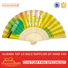 Promotion portable bamboo paper craft fan for gift