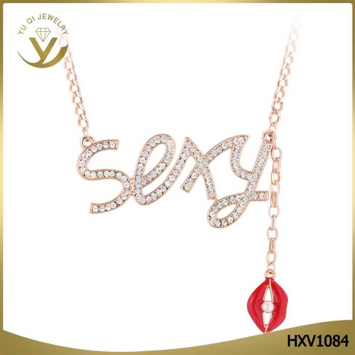 Personalized Customized Body Chain Crystal Rhinestone SEXY Letters Pendant Necklace With Red Lips