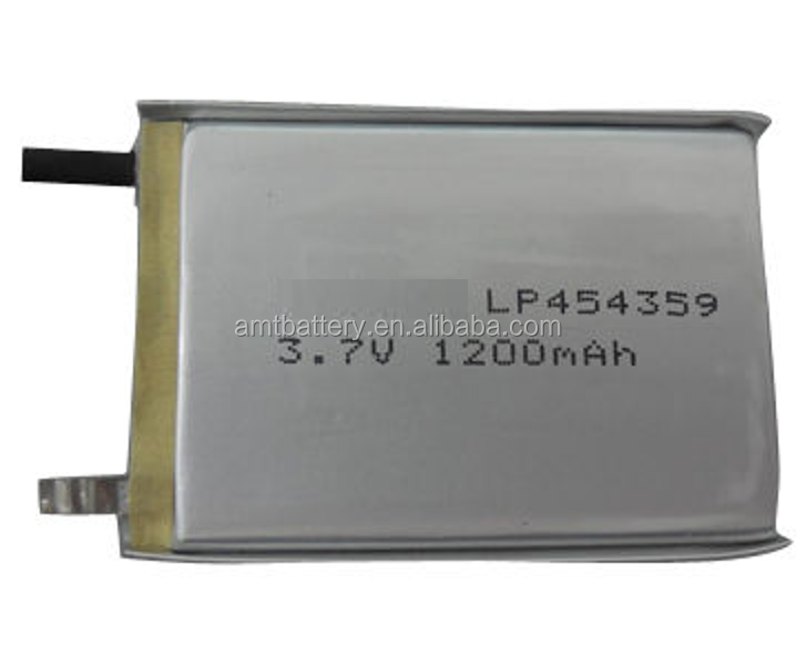 3.7V 454359PL-1200mAh Li-polymer battery for Medical device ,with UL/CE/UN38.3 certificate.