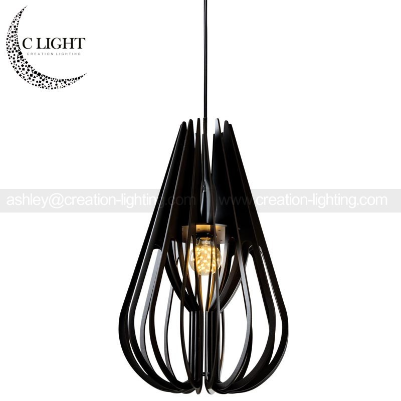 Drop Shape Wooden Pendant Lights Modern Lighting Fixtures Indoor Use