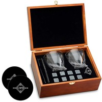 Whiskey Stones and Whiskey Glass Gift Boxed Set - 8 Granite Chilling Whisky Rocks + 2 Crystal Glasses in Wooden Box - Great Gift