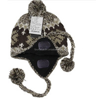 kids 2 layers fleece inside acrylic jacquard knitted ear flap hat