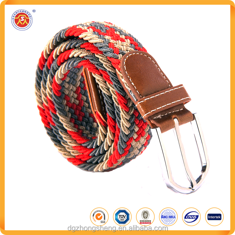 personalized polyester material braided stretch elastic canvas belts on sale