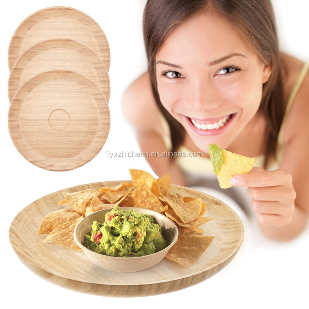<strong>natural</strong> round bamboo food serving tray for dinning room bamboo serving platters chip dip