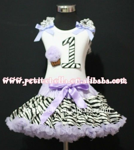 1st Birthday White Top with Black Zebra number & Light Purple Rosette cake & Ribbon,Light Purple Zebra Ruffle Pettiskirt MAMM76