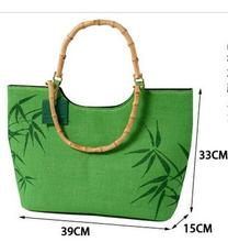 Summer style Linen Women bag ladies Famous Brands bamboo handle jute Women Tote Bag Designer Handbags High Quality bolsos beach