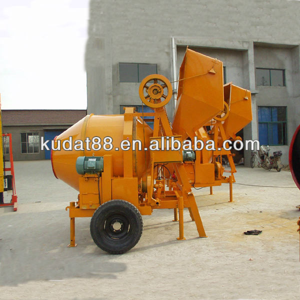 Electric JZC350 Concrete Mixer with wire hoisting tipping hopper