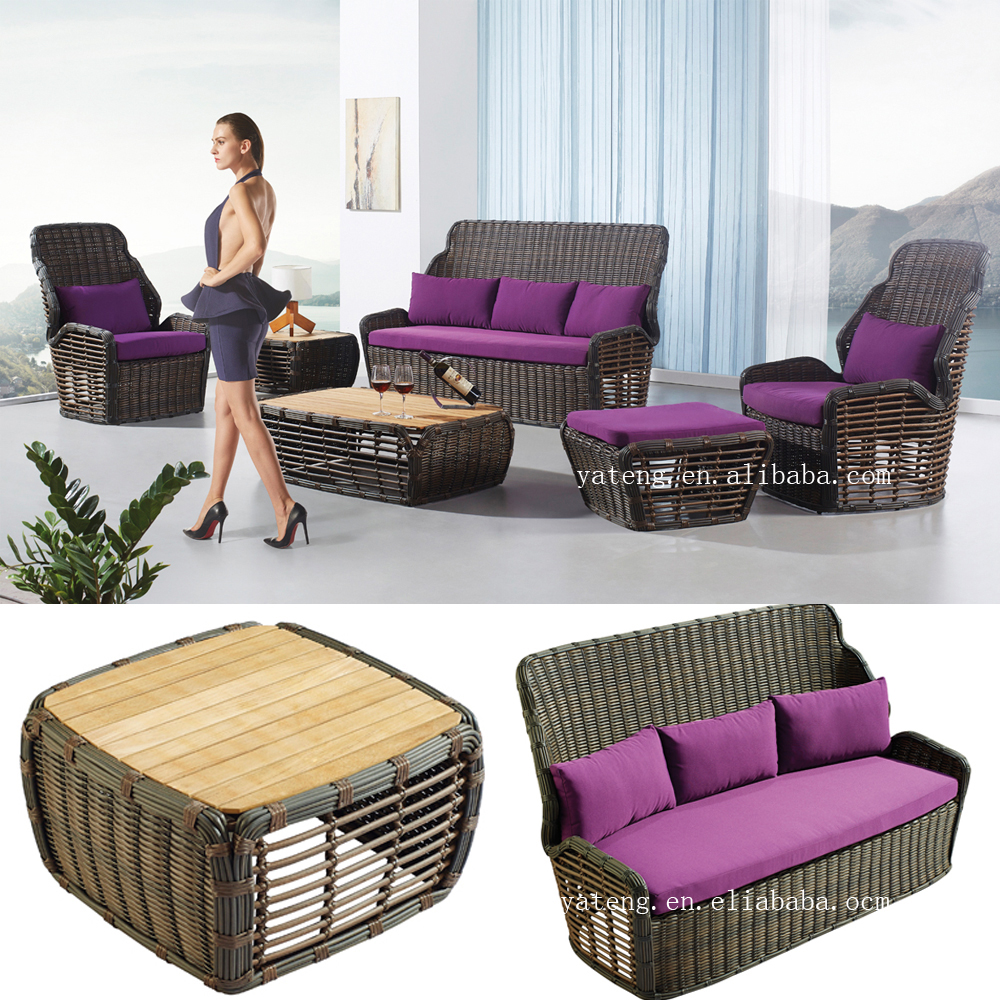 Synthetic rattan sofa set cebu rattan round outdoor furniture